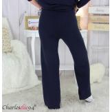 Pantalon large maille tricot stretch hiver femme ARENA bleu marine Pantalon large femme