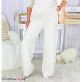 Pantalon large maille tricot stretch hiver femme ARENA beige Pantalon large femme
