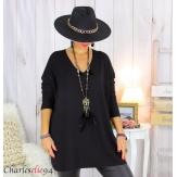 Pull tunique doux femme grandes tailles AGNES noir Pull tunique femme