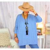 Pull tunique doux femme grandes tailles AGNES bleu jean Pull tunique femme