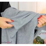 Pull tunique doux femme grandes tailles AGNES gris Pull tunique femme