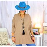 Pull tunique doux femme grandes tailles AGNES camel Pull tunique femme