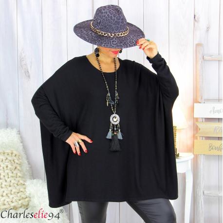 Pull tunique doux femme grandes tailles AGATHA noir Pull tunique femme