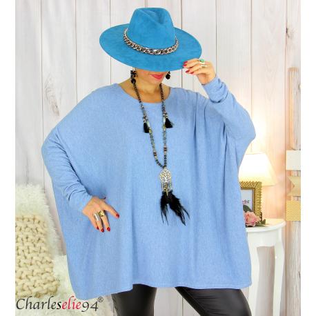 Pull tunique doux femme grandes tailles AGATHA bleu jean Pull tunique femme