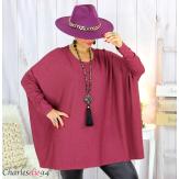 Pull tunique doux femme grandes tailles AGATHA bordeaux Pull tunique femme