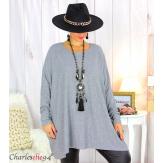 Pull tunique doux femme grandes tailles AGATHA gris Pull tunique femme