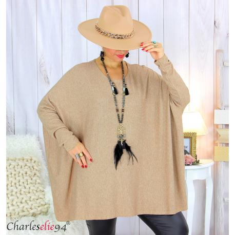 Pull tunique doux femme grandes tailles AGATHA camel Pull tunique femme