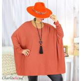 Pull tunique doux femme grandes tailles AGATHA brique Pull tunique femme