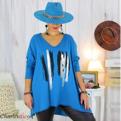 Tunique longue femme grandes tailles DOREMI pétrole Tee shirt tunique femme grande taille
