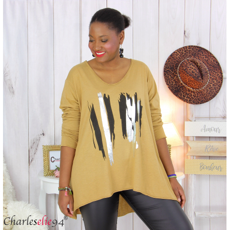 Tunique longue femme grandes tailles DOREMI camel Tee shirt tunique femme grande taille