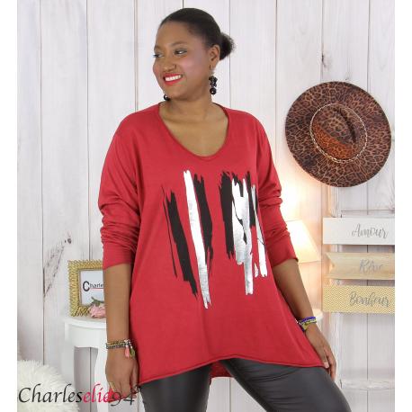 Tunique longue femme grandes tailles DOREMI bordeaux Tee shirt tunique femme grande taille