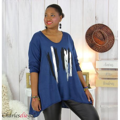 Tunique longue femme grandes tailles DOREMI marine Tee shirt tunique femme grande taille