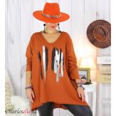 Tunique longue femme grandes tailles DOREMI brique Tee shirt tunique femme grande taille