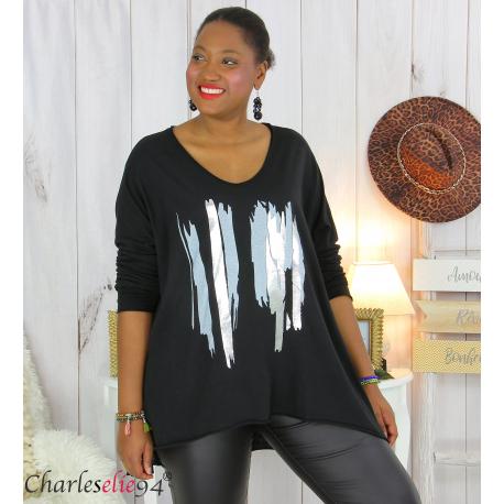 Tunique longue femme grandes tailles DOREMI noir Tee shirt tunique femme grande taille