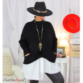 Pull chemise 2 en 1 femme grandes tailles PHENIX noir Pull femme grande taille