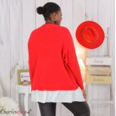 Pull chemise 2 en 1 femme grandes tailles PHENIX rouge Pull femme grande taille
