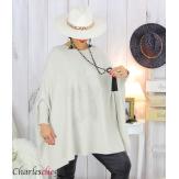Poncho pull étoile femme grandes tailles ZENITH beige Poncho grande taille femme