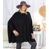 Poncho pull étoile femme grandes tailles ZENITH noir Poncho grande taille femme