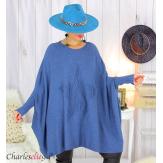 Poncho pull étoile femme grandes tailles ZENITH bleu jean Poncho grande taille femme