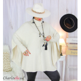 Poncho pull col roulé hiver grandes tailles ISIA beige Poncho grande taille femme