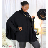 Poncho pull col roulé hiver grandes tailles ISIA noir Poncho grande taille femme