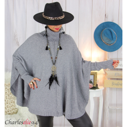 Poncho pull col roulé grandes tailles ISIA gris Poncho grande taille femme