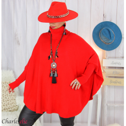 Poncho pull col roulé grandes tailles ISIA rouge Poncho grande taille femme
