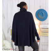 Poncho pull col roulé grandes tailles ISIA bleu marine Poncho grande taille femme