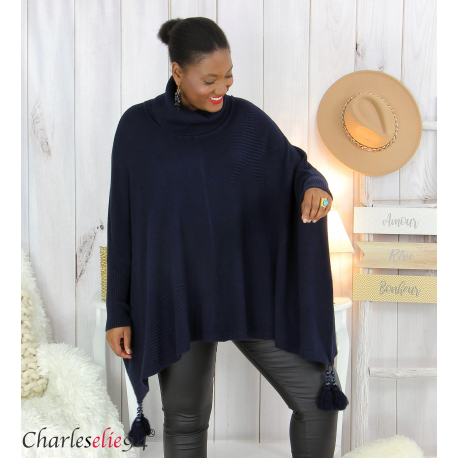 Poncho pull col roulé pompons grandes tailles DAYLI bleu Poncho grande taille femme
