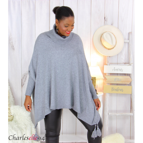 Poncho pull col roulé pompons grandes tailles DAYLI gris Poncho grande taille femme