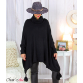Poncho pull col roulé pompons grandes tailles DAYLI noir Poncho grande taille femme