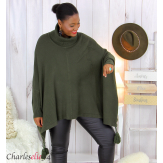 Poncho pull col roulé pompons grandes tailles DAYLI kaki Poncho grande taille femme