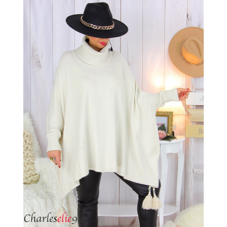 Poncho pull col roulé pompons grandes tailles DAYLI beige Poncho grande taille femme