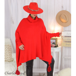 Poncho pull col roulé pompons grandes tailles DAYLI rouge Poncho grande taille femme