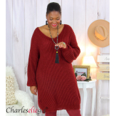Robe pull mohair femme grande taille LAURY bordeaux Robe pull femme