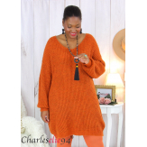 Robe pull mohair femme grande taille LAURY brique Robe pull femme