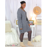 Robe pull mohair femme grande taille LAURY gris Robe pull femme