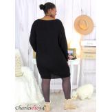 Robe pull mohair femme grande taille LAURY noir Robe pull femme