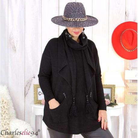 Pull avec écharpe assortie noir pompons grande taille GOYA Pull femme grande taille