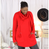 Pull avec écharpe assortie pompons grande taille GOYA rouge Pull femme grande taille