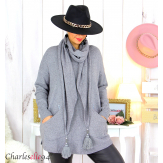 Pull avec écharpe assortie gris pompons grande taille GOYA Pull femme grande taille