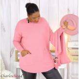 Pull avec écharpe assortie pompons grande taille GOYA rose Pull femme grande taille