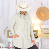 Pull avec écharpe beige assortie pompons grande taille GOYA Pull femme grande taille