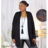 Gilet poches femme grandes tailles MACHA noir Gilet femme grande taille