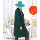 Gilet long grosse maille kid mohair torsadé TAHO vert Gilet femme grande taille