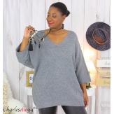 Pull long laine femme grandes tailles ROMANE gris Pull femme grande taille