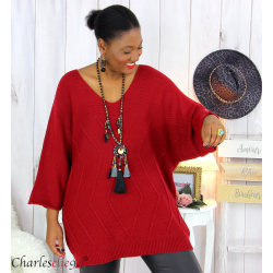 Pull long laine femme grandes tailles ROMANE bordeaux Pull femme grande taille