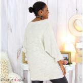 Pull long laine femme grandes tailles ROMANE beige Pull femme grande taille