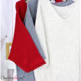 Pull long laine femme grandes tailles ROMANE noir Pull femme grande taille