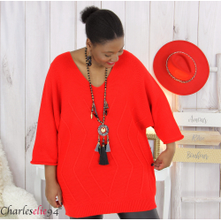 Pull long laine femme grandes tailles ROMANE rouge Pull femme grande taille